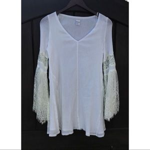 L Space White Boho Lacey Sleeve Coverup Dress